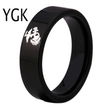 YGK Brand 6MM Black Pipe Army Ring USMC Design Men's Tungsten Comfort Fit Ring(China)