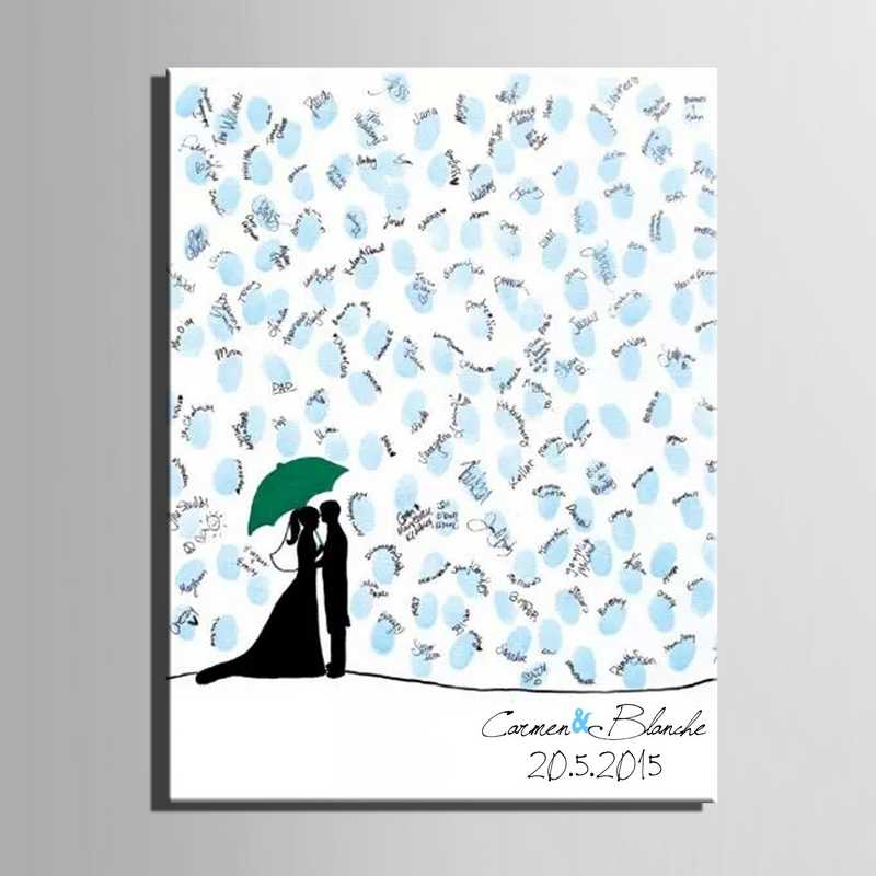 Wedding Gifts for Guests Fingerprint Signature Canvas Painting Lover Kiss in The Rain Personalized Wedding Mariage Guest Book