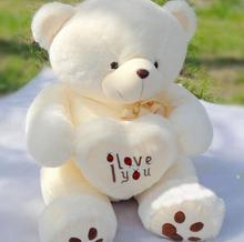 1pc 50cm&70cm Cute Stuffed Plush Toy Holding LOVE Heart Big Plush Teddy Bear Soft Gift for Birthday Girls' Brinquedos(China)