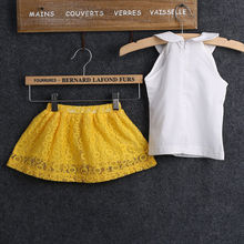 Baby Girl Clothes Set 2017 Hot 2-7Y Summer Kids Baby Girls princess Sleeveless Tops+Lace Mini Skirt Outfits Girls Clothing Sets(China)