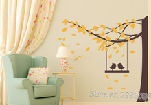 Wall Sticker Tree with Bird Swing New Arrivals 2 Color Wall Decals Tree Living Room Art Wall Home Decor Mural Wallpapers LA928(China)