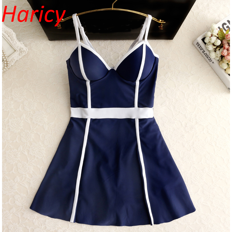 2018 New Ladies Black White Patchwork One Piece Swimwear Skirt Bathing Suit Sexy Women Hot Spring Summer Swimming Dress Swimsuit<br>