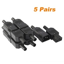 5 Pairs IEC320 C14 Male + C13 Female Inline Rewirable Main Power Socket Plug Connector AC 250V 10A(China)