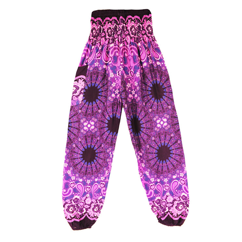 2018 New Indie Folk Women Long Pants Boho Baggy Hippie Female Harem Loose Printed Soft Elastic High Waist Bottom Trousers Gypsy