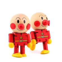1 Pcs Kawaii Super Cute Changeable Wooden Cartoon Dolls Funny Wooden Baby Toy Anpanman Joint Motion(China)