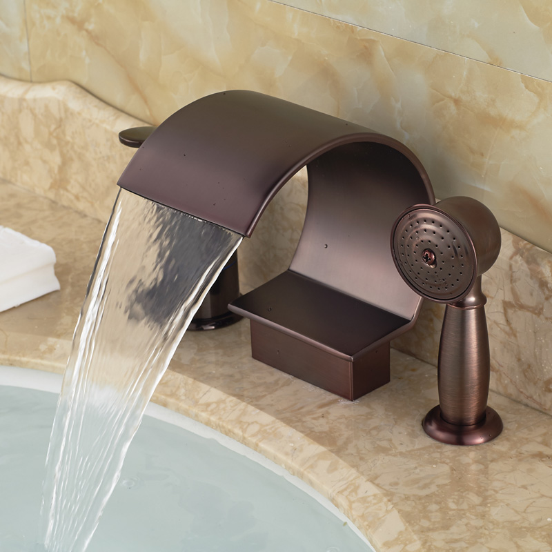 Luxury Deck Mount Widespread Waterfall Bathroom Tub Mixer Faucet with Handshower Oil Rubbed Bronze Finished<br><br>Aliexpress