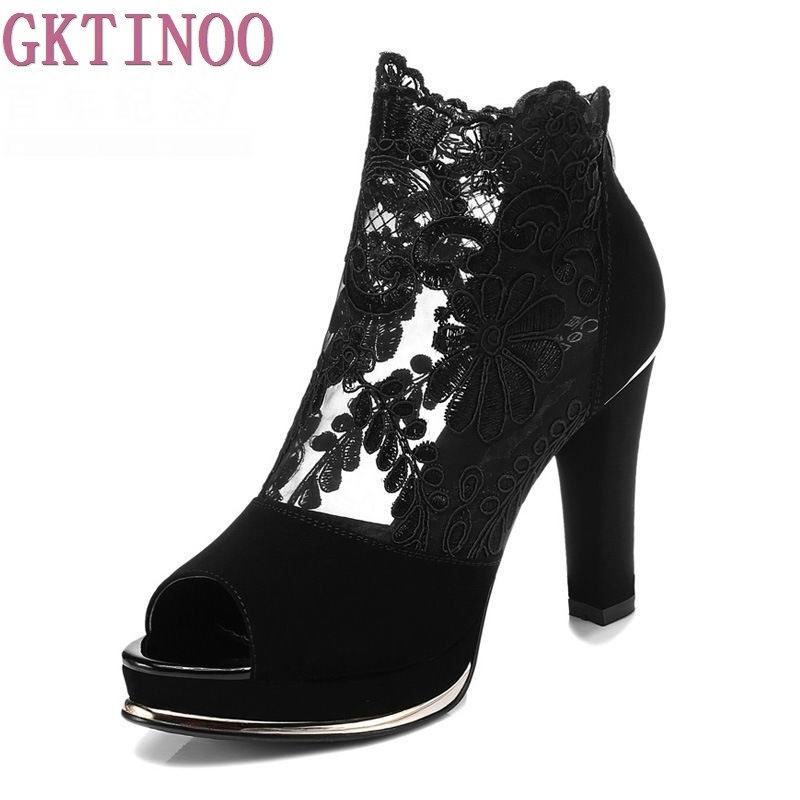 Women Sandals 2018 Summer gauze high-heeled shoes lace Fish mouth women sandals fashion summer ankle boots S069<br>