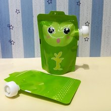 New 10pcs Food pouch BMP free Baby Grade plastic reusable cute squeeze packaging bags with zip lock Kids feeding free shipping(China)