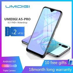 UMIDIGI A5 PRO Android 9,0 Восьмиядерный мобильный телефон 6,3 FHD + 16MP Тройная камера 4150 мАч 4 Гб ram 32G rom смартфон GSM разблокированный