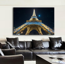 HDARTISAN Landscape Photograhy Picture Night Looking Up at the Eiffel Tower Home Decor Wall Painting For Living Room Canvas Art