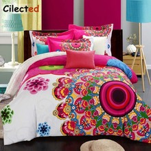 Cilected Red Luxury Mandala Flowers Sanding 100% Cotton Printed Bedding Set Include Duvet Cover Bed Linen Pillowcase For Wedding