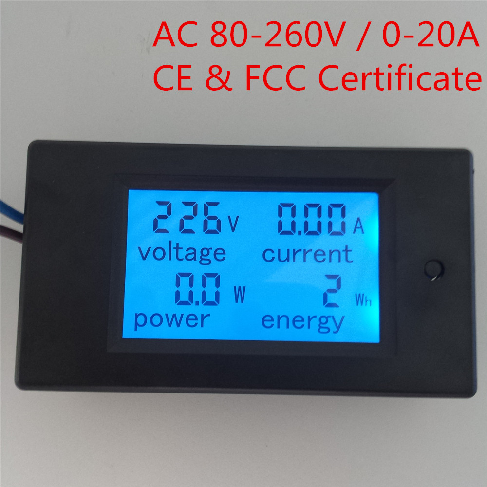 PEACEFAIR Digital AC 80-260V 20A 4IN1 voltage current power energy Amps Volt Monitor Voltmeter Ammeter Watt Panel Meter(China (Mainland))