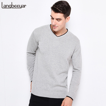 2017 New Autumn Winter Fashion Brand Clothing Pullover Mens Sweaters V-Neck Solid Color Slim Fit 100% Cottn Sweaters For Men(China)