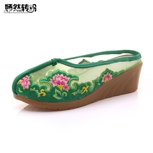 Women Slippers Embroidery Slope Sandals Chinese Summer Ladies Casual Floral Embroidered Comfort Slides Shoes(China)