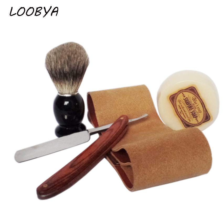 4pc/set Wood Handle Safety Razor Leather Strop with Badger Shaving Brush Shave Soap<br>