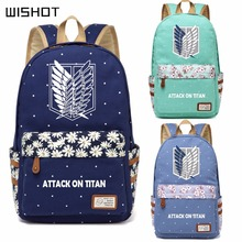 WISHOT Anime Attack on Titan Canvas bag Flower wave point backpack for teenagers Girls School travel ShoulderBag Mikasa