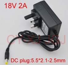 1PCS 18V 2A AC 100V-240V Converter Adapter DC 18V 2A 2000mA Power Supply UK Plug  5.5mm x 2.1-2.5mm Free  shipping