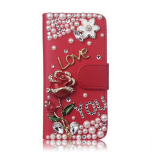 3D Bling PU Leather Crystal Diamond Rhinestone Letters Rose Cover Flip Wallet Cover Case For Samsung Galaxy S6 S7 Edge Plus(China)