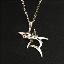 "Funky Stylish Punk Sea Ocean Animals Jewelry for Women Men Antique Silver Big White Shark Model Pendant 60CM 24"" Chain Necklace(China)"