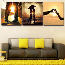 3pcs/set 50*50 diy oil painting by numbers triptych acrylic painting coloring paint by number hand painted drawing lovers SP033