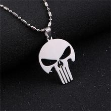 2017 New Fashion Men's Silver Titanium Stainless Steel Skull Pendant Long Chain Necklace