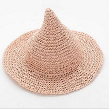 2017 New Adorable Toddler Kids Children Boys Girls Straw Solid Witch Sun Cap Straw Hat
