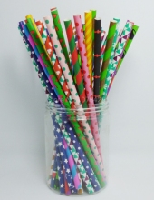 50 PCS/2 Pack Colorful Festival Pattern Paper Straws For Valentines Christmas Halloween Easter Party Gift