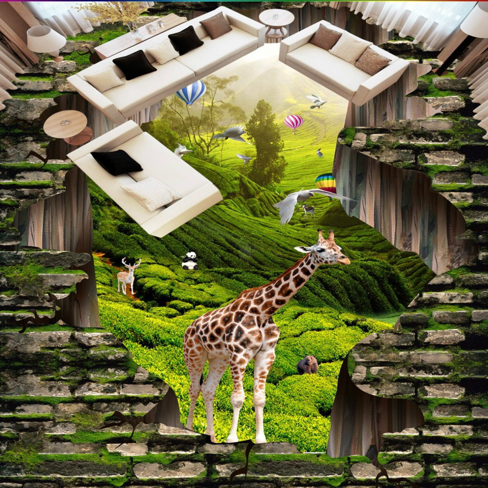 Free Shipping 3D Stereo animal world landscape brick Wall style waterproof outdoor floor wallpaper<br>
