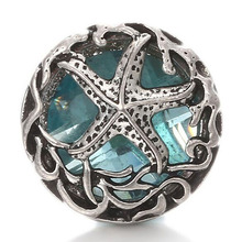 10pcs/lot New High Quality Starfish Snap Buttons Hollow Box Blue Rhinestone Snap Fit 18mm Snap Jewelry Buttons Bracelet(China)