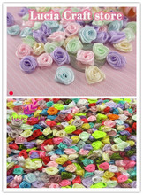 144pcs 10mm Multi color Option Satin Flower Head Girls Boutique Mini Hair Bow Headwear DIY Garment Craft D14021031(China)
