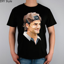 Roger federer rf  t-shirt male short-sleeve cotton lycra top new arrival shirts for men