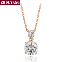 ZHOUYANG Top Quality CZ Rose Gold Color Pendant Necklace Jewelry Austrian Crystal Wholesale ZYN144 ZYN154