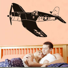 Black White Airplane Wall Sticker For Kids Room Boy Vinyl Removable Aircraft Wall Decal For Bedroom Home Decoration Accessories(China)