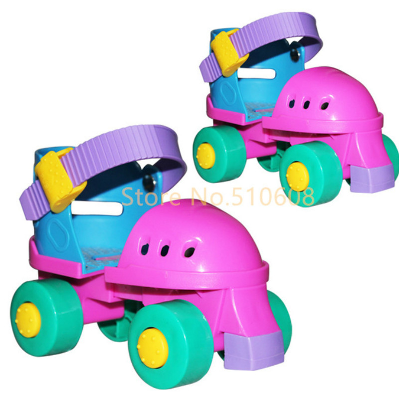 Children roller skates double round four wheel skating shoes adjustable size for 2-7 years old baby<br>