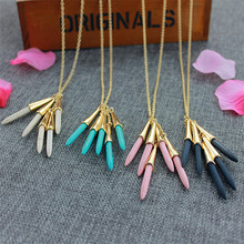 XQ 2016 free shipping fashion color stone long pendant necklace Fashion necklace the alloy banquet(China)