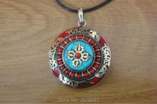 PN099 Tibetan Buddhism Six Words Mantra Dorje Prayer box Pendant Nepal Handmade Big Round 41mm Coral Prayer Gau Amulet(China)