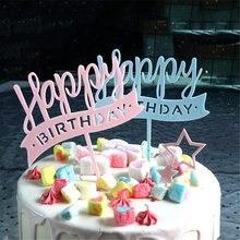 2pcs Happy Birthday Cake Topper Party Favors Dessert Fruit Decorative Food Picks Decor Insert Card Kids Birthday Party Women Men(China)