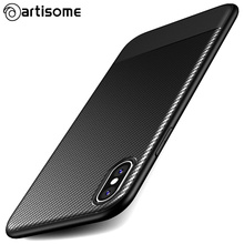 Buy Artisome Slim Case iPhone X Silicone TPU Soft Cover Carbon Fiber Slim Phone Cover iPhone x Phone Case Coque Protection for $2.49 in AliExpress store