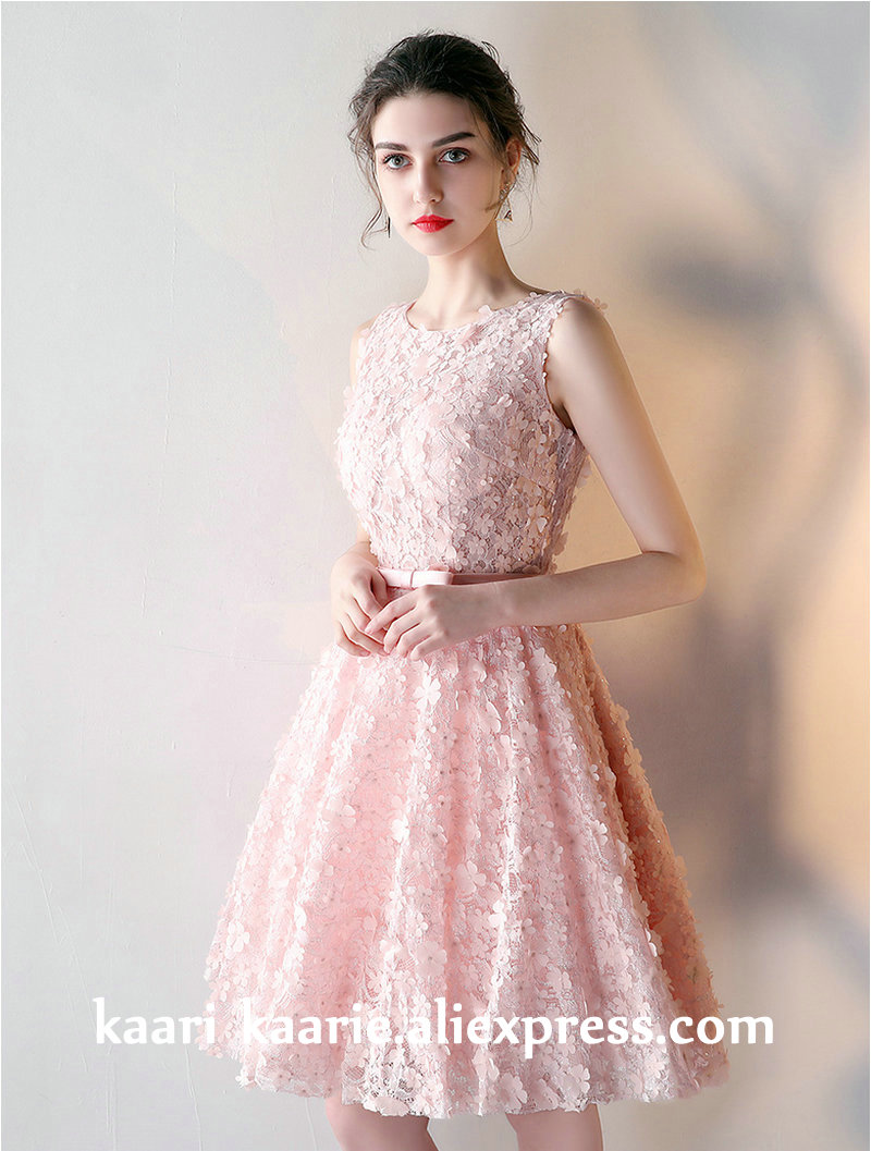 Detail Feedback Questions about Fashion Pearl Pink 3D Lace Prom ... 6bc564120789