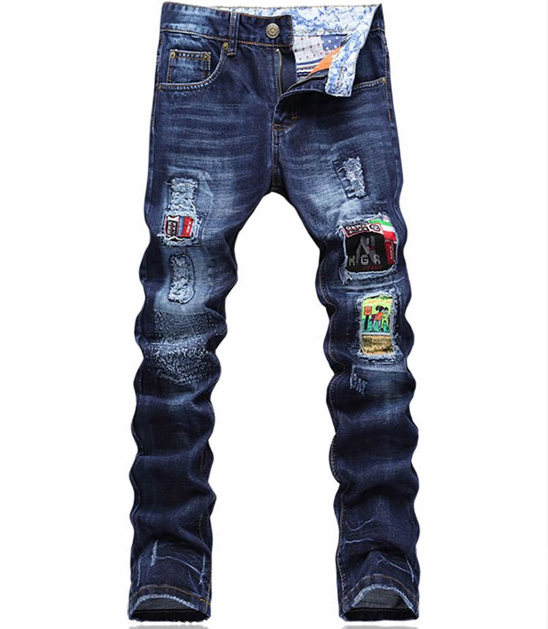 2017 Hot Sale Fashion Patchwork Man Embroidery Blue Jeans Fashion Skinny Denim Long Trousers
