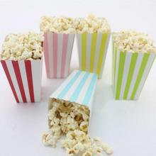 6PCS Stripe Popcorn Cup Birthday Party Decoration Snacks Environmental Protection Tray Popcorn Cup Tray A2