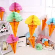 5pcs/lot Ice Cream Honeycomb Balls Paper Lanterns Wedding Decorations Supermarkets shopping markets outdoor decoration(China)