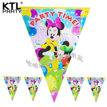 4m Children birthday party cartoon flag decoration princess car spongebob kids hanging banner(China)