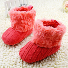 Baby Shoes Infant Crochet Knit Fleece Boots Toddler Girl Boy Wool Snow Crib Shoes Winter Booties(China)