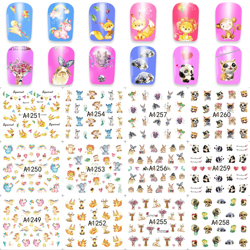 Mixed 12 Designs/Sheet Nail Art Water Sticker Dog/Rabit/Monkey Animal Nail Decals Polish Gel DIY Beauty A1249-1260<br><br>Aliexpress