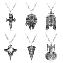 HEYu Movie Star Trek Star War Enterprise Millennium Falcon Spacecraft Robot R2D2 Necklace Metal Alloy Pendant Necklace Jewelry(China)