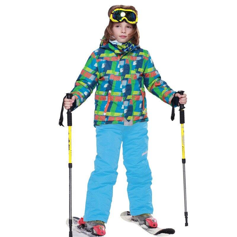 Winter Children Ski Suit Outdoor Boys Windproof Waterproof Ski Jacket+Bib Pants Boys Winter Ski Set 7-16 age aTST0210<br><br>Aliexpress