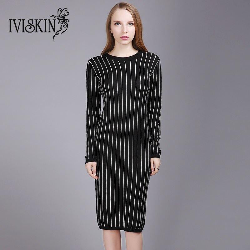 Women Autumn Winter Knitted Sweater Dress European Style Long Sleeve Slim Striped Dress Black 2017Îäåæäà è àêñåññóàðû<br><br>