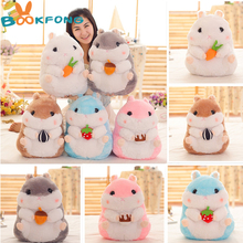 BOOKFONG [5 Color 38cm/55cm ] Lovely snack hamster plush dolls plush toys simulation hamster children Birthday girls holiday Toy(China)
