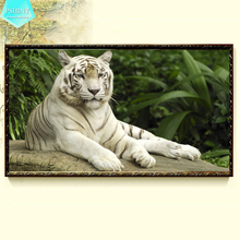 PSHINY 5D DIY Diamond embroidery white rest tiger picture full mosaic kit square rhinestone animals diamond painting cross stich